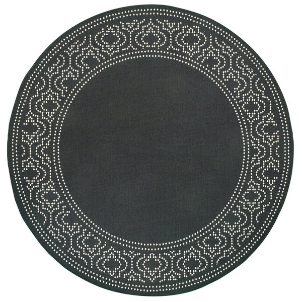 "Havenside Home Pavlof Bay Border Black/ Ivory Loop Pile Indoor/ Outdoor Area Rug - 7'10"" Round"