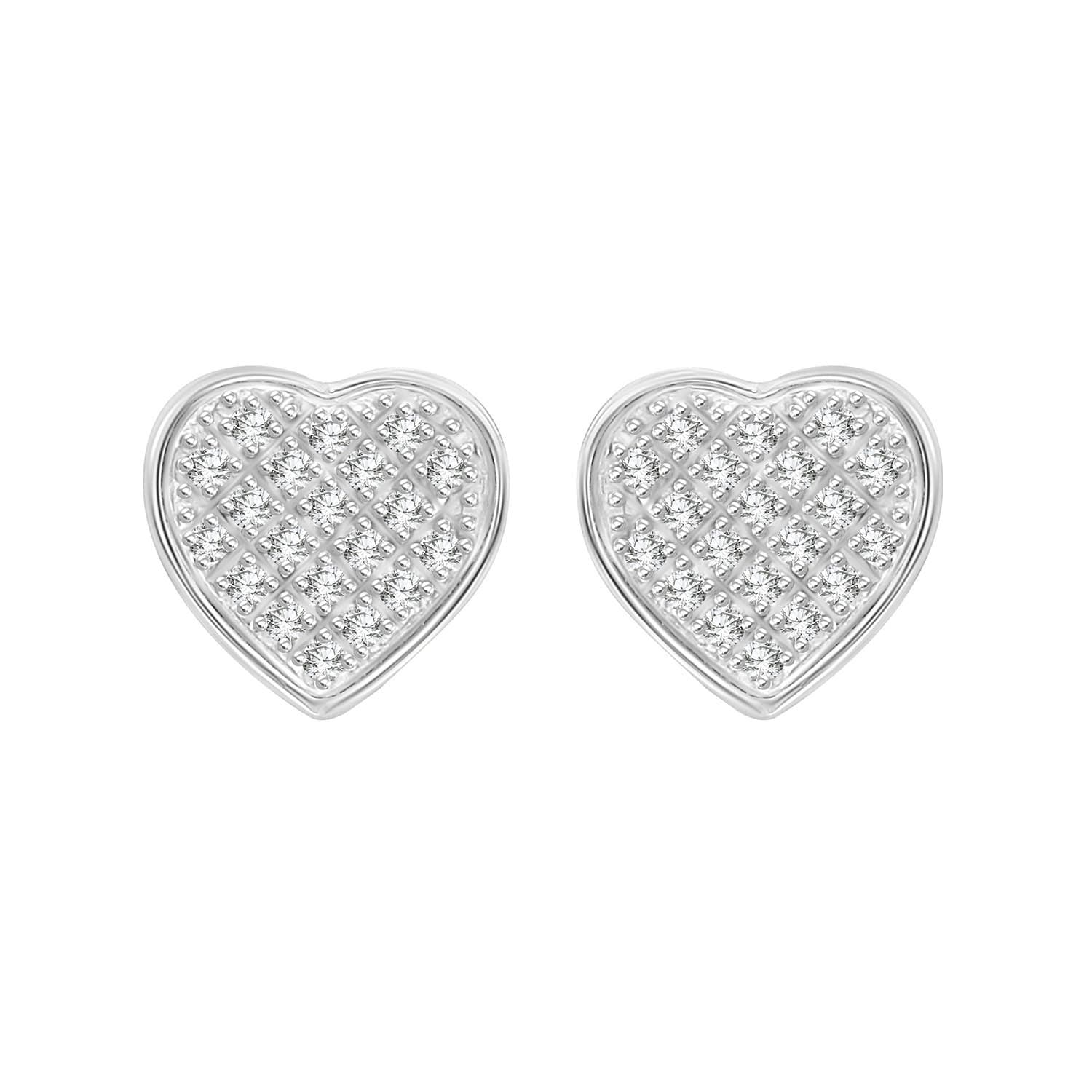 16848931f Shop 1/6 cttw Round Natural Diamond Heart Shape Unisex Yuva Stud Earrings  With Screw Back 10K White Gold - Free Shipping Today - Overstock - 21731459