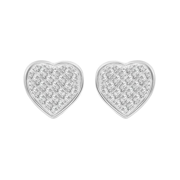 a2ccc0247a79a Shop 1/6 cttw Round Natural Diamond Heart Shape Unisex Yuva Stud ...