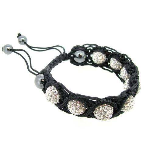 "Black Knotted Clear CZ Crystal Hematite Ball Bead Adjustable Wristband Bracelet 7"""
