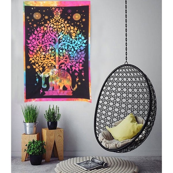 Life Of Tree Elephant Printed Cotton Poster Wall Hanging Decor Tapestries Throw Bedspread - 30x45 inches
