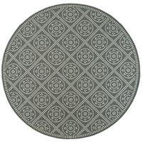 "Geometric Medallion Lattice Grey/ Ivory Loop Pile Indoor-Outdoor Area Rug - 7'10"" Round"