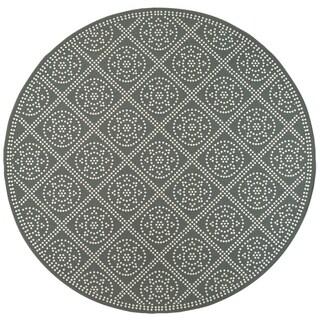 Geometric Medallion Lattice Grey/ Ivory Loop Pile Indoor-Outdoor Area Rug - 7'10 x 7'10
