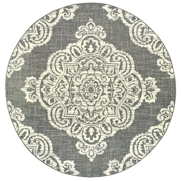Style Haven Grey Ivory Center Medallion Loop Pile Round Indoor