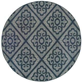 "Havenside Home Kaktovik Medallion Lattice Loop Pile Indoor/ Outdoor Area Rug - 7'10"" Round"