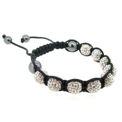 """Black Knotted Clear CZ Crystal Ball Bead Wristband Bracelet 7.5"""""""