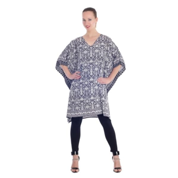 9450495667ee71 Shop Blue Tunic Top Floral Kaftan Plus Size Caftan Summer Short Party Casual  Dresses Women - Free Shipping Today - Overstock - 21731968
