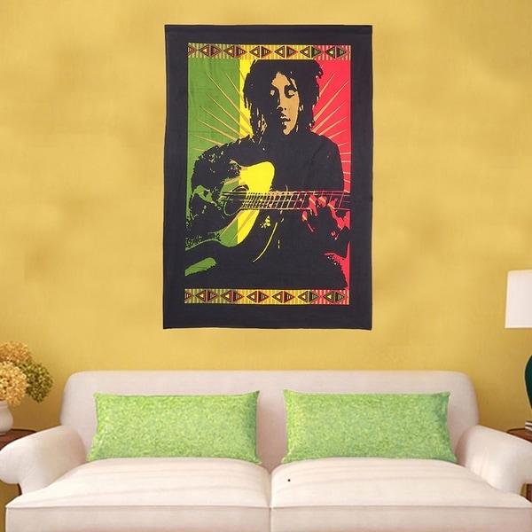 Shop Wall Decor Handmade Hanging Cotton Tapestry Bob Marley Multi ...
