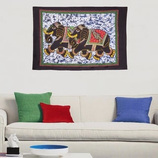 Boho Elephant Batik Print Multi-Color Wall Hanging Decor Poster Tapestry - 30x45 inches