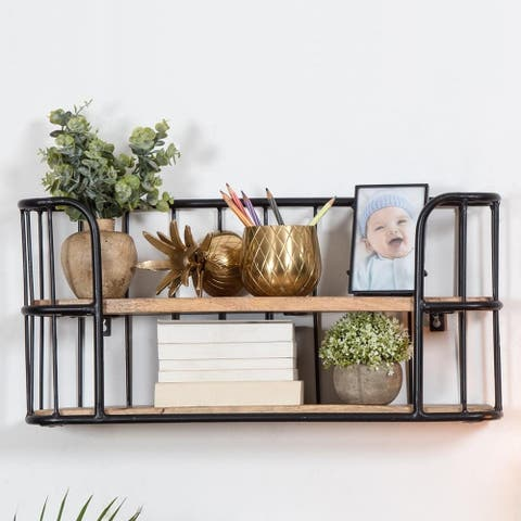 Venables Two-tier Wooden Floating Shelves - 12 x 25.50 x 7