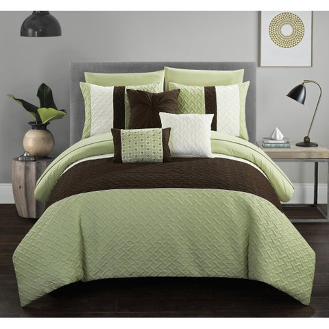Chic Home Arza 10 Piece Color Block Quilted Comforter Set