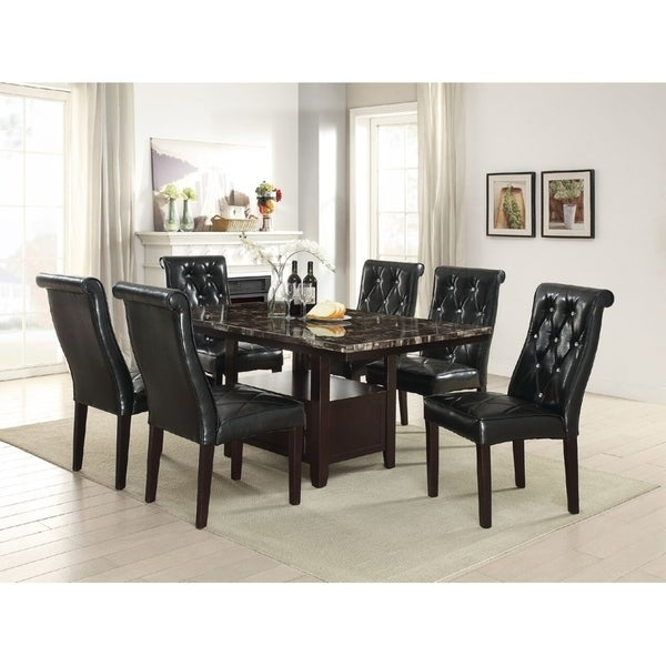 Ultimate Accents Urban 7 Piece Dining Set Reviews: Shop Ruggell 7 Piece Dining Set With Espresso Faux Marble