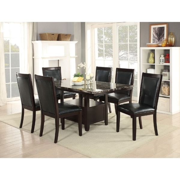 Shop Gamprin 7 Piece Dining Set With Espresso Faux Marble