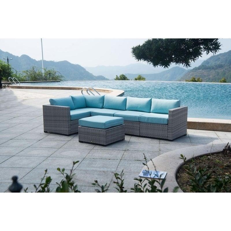 Broyerk 6 Piece Outdoor Rattan Patio Sectional Garden Furniture Set