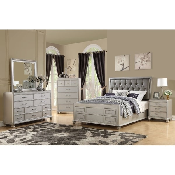 Shop Avignon 4 Piece Modern Queen Size Bedroom Set in Rustic White ...