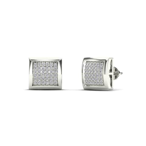 AALILLY Mens 14k White Gold 1/6ct TDW Diamond Classic Stud Earrings (H-I, I1-I2)