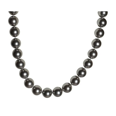 Dark Silver Mother of Pearl Necklace - 17 Inch