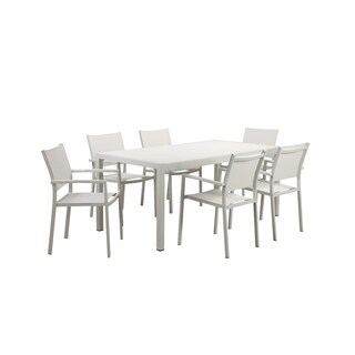 Slenderly Sleek Aluminum 7 piece Modern Outdoor Dining Set In White