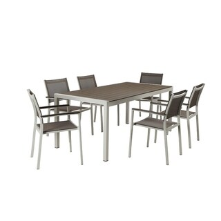 Aluminum 7 piece Modern Outdoor Dining Set In White/Gray