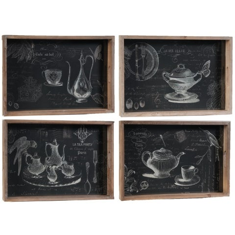 Sophisticated Wooden Trays , Set of 4,Black