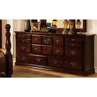 Capacious Traditional Style Wooden Dresser, Dark Pine Brown