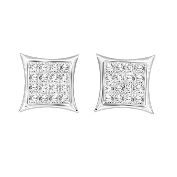 6cd9552dd 1/10 cttw Round Natural Diamond Kite Shape Yuva Unisex Stud Earrings With  Screw Back