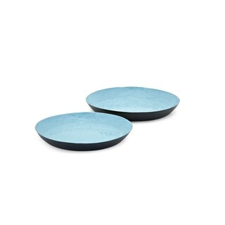 Round Metal Trays Set of 2 Blue