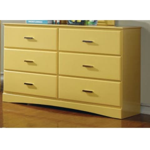 Graceful Wooden Transitional Style Dresser, Yellow