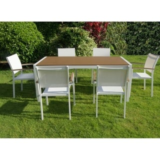 Anodized Aluminum 7 piece Modern Outdoor Dining Set In White/Teak