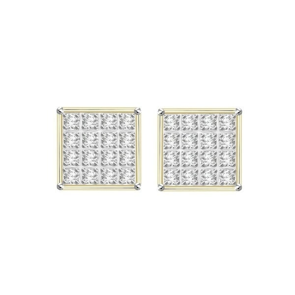 44869ee3e 1/10 cttw Round Diamond 10K Yellow Gold Ladies Square Shaped Cluster Stud  Earrings With