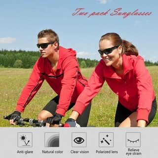 Polarized Outdoor Sunglasses for Ski Driving Golf Running Cycling(Two Pack)