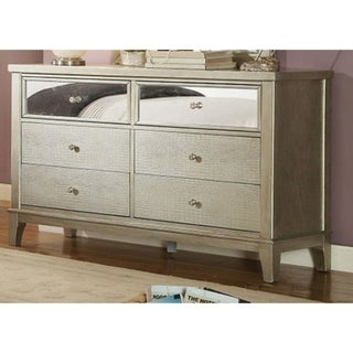 Incredible Wooden Contemporary Style Dresser With Crystal Knobs, Silver