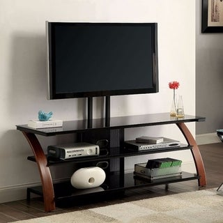 "Stunning 72"" TV Wooden Metal Stand With Black Tempered Glass, Black/Brown"