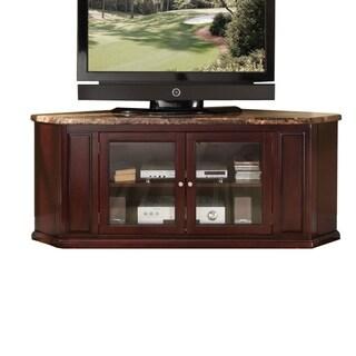 Corner TV Stand, Faux Marble & Espresso Brown