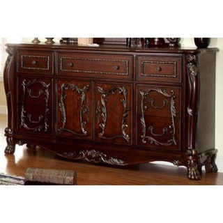 Majestic Transitional Style Wooden Dresser, Cherry Brown