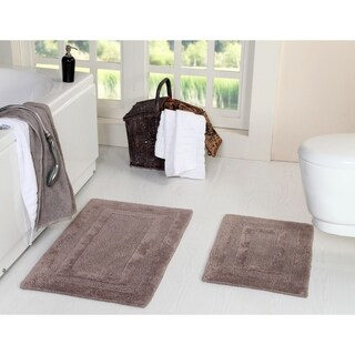 Reversible 100% Long Staple Cotton Tufted 2-Piece Double Race Course Track (Set of 2) 21X34-Inch and 17X24-Inch Bath Rug Set