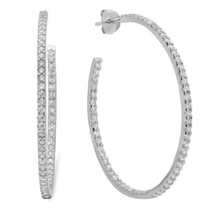 Sterling Silver Large Cubic Zirconia Hoop Earrings