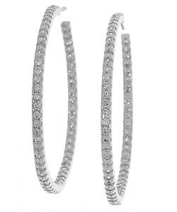 Sterling Essentials Sterling Silver Large Cubic Zirconia Hoop Earrings