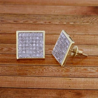 1/3 cttw Round Diamond 10K Yellow Gold Unisex Square Shaped Cluster Stud Earrings With Screw Back