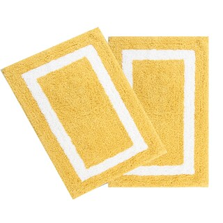 100% Long Staple Cotton Yarn Tufted 2-Piece Photo Frame (Set of 2) 20*30-Inch Bath Rug Set By Homeway Décor (Option: Yellow)