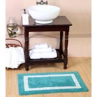 100% Long Staple Cotton Yarn Tufted 2-Piece Photo Frame  (Set of 2) 20*30-Inch Bath Rug Set By Homeway Décor