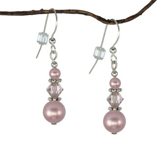 Handmade Jewelry by Dawn Pink Rose Triple Bead Earrings (USA)