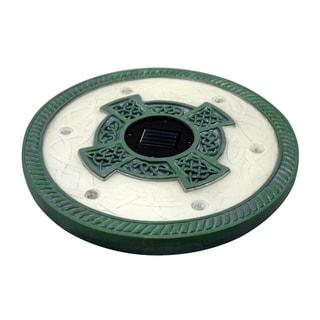 Homebrite Solar Set of 3 Solar Power 6 LED Round Limestone Green Stepping Stones