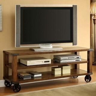 "Broadus II Classy Wheely 60"" Tv Console, Dark Oak Finish"