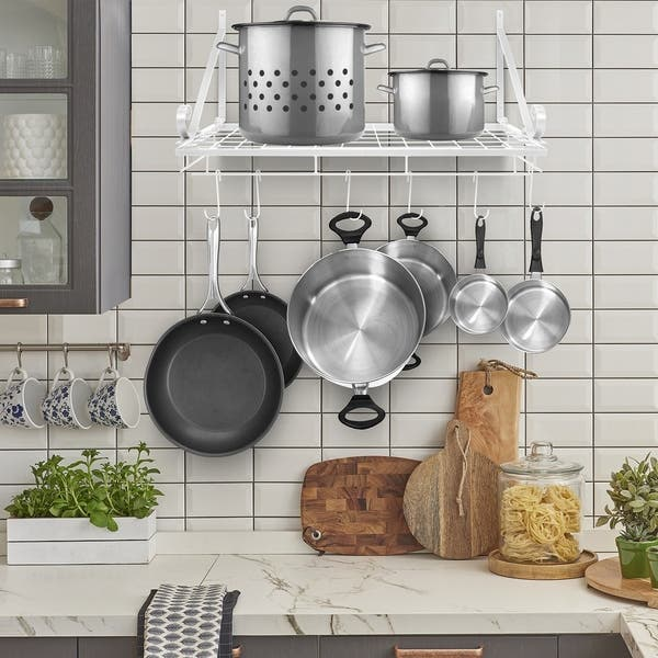 Shop Kitchen Wall Pot Pan Rack,With 10 Hooks,Black - Free ...
