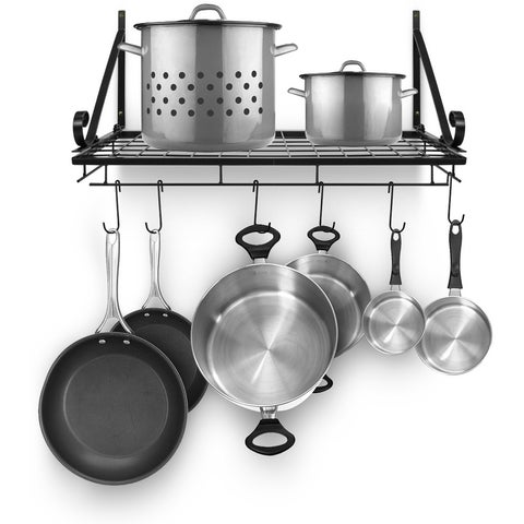 Kitchen Wall Pot Pan Rack,With 10 Hooks,Black