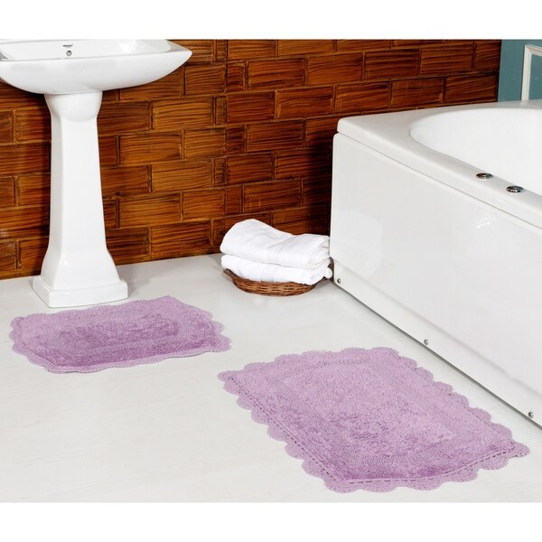 Reversible 100% Long Staple Cotton Yarn Tufted 2-Piece hand crochet lace set (Set of 2) 20*32 + 17*24 Bath Rug Set