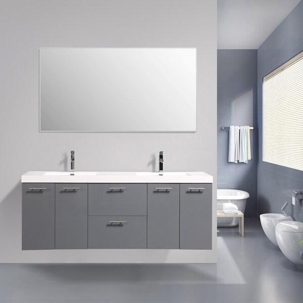 Eviva Luxury 84 inch Gray bathroom vanity