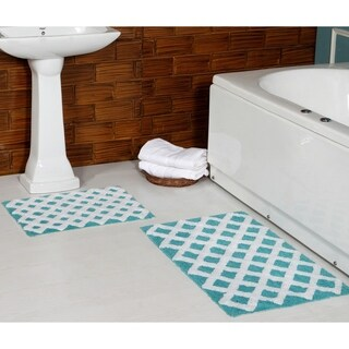 100% Long Staple Cotton Yarn Tufted 2-Piece Diamond (Set of 2) 21*34 + 17*24 Bath Rug Set By Homeway Décor