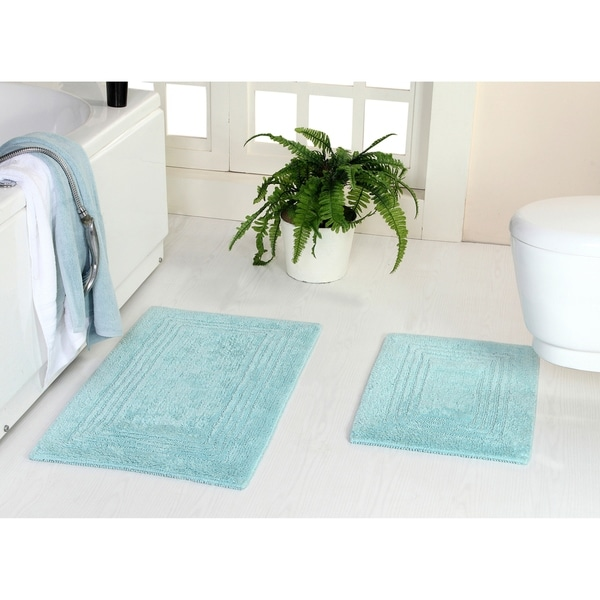 Reversible 100% Long Staple Cotton Tufted 2-Piece Triple Race Course Track (Set of 2) 21X34-Inch and 17X24-Inch Bath Rug Set
